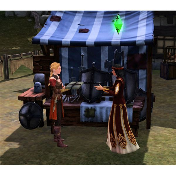 The Sims Medieval Merchant selling Merchandise