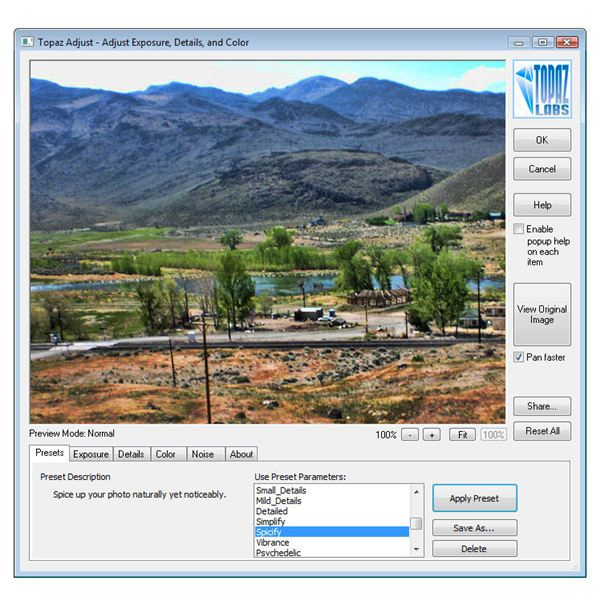 User Interface of Topaz Adjust