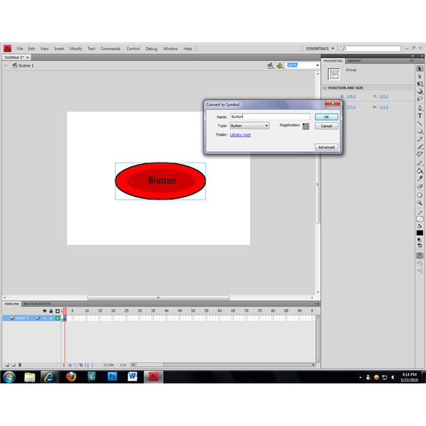 Making the image into a Flash button.