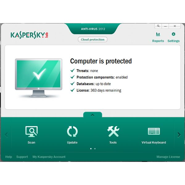 UI of Kaspersky AV 2012