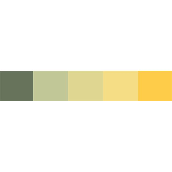 A spring color scheme - well balanced and a nice use of both muted greens and yellows.