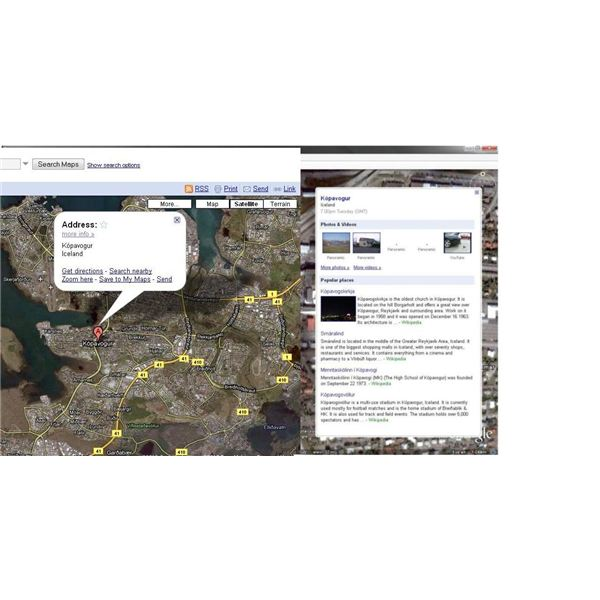 You can get information about cities and locations in both Google Earth and Google Maps