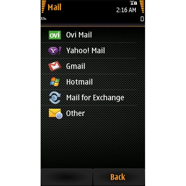 Nokia N8 Email: Selecting Email Providers