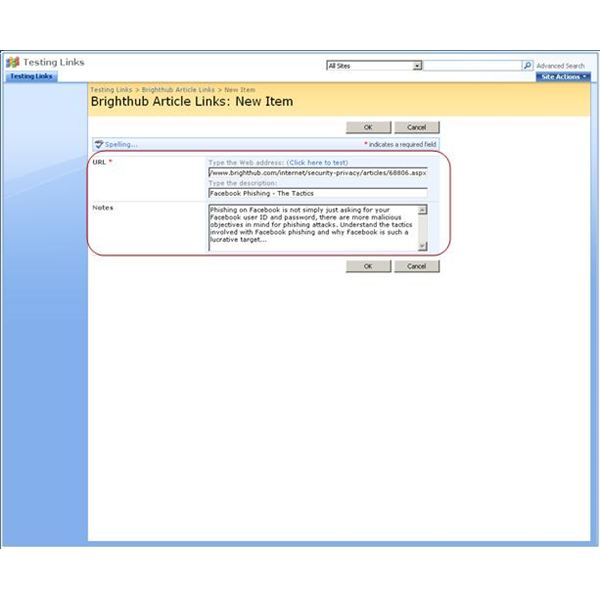 Step 3 - Adding New Links to Your SharePoint 2007 Link List