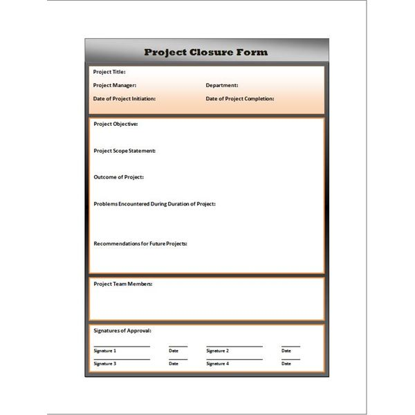 Free project closure report form download and use for for End of project report template