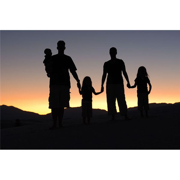 A family silhouetted at sunset.
