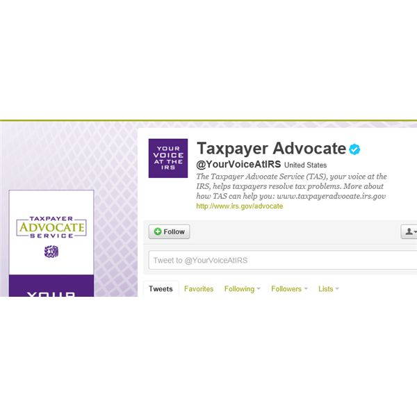 Screenshot of Taxpayer Advocate Twitter page