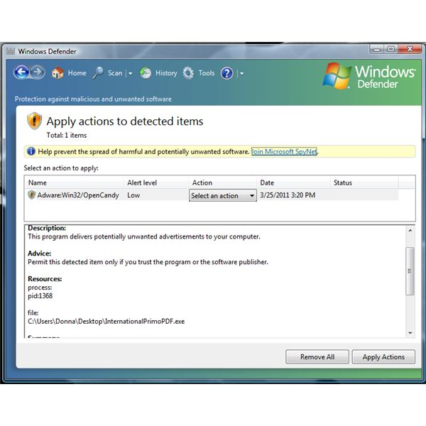 Windows Defender Report on OpenCandy, Adware