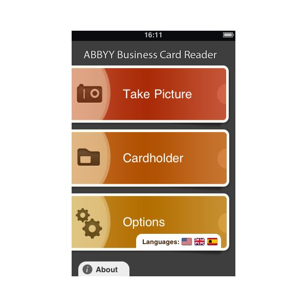 Scan a business card with abbyy iphone business card reader abby business card reader image source reheart Gallery