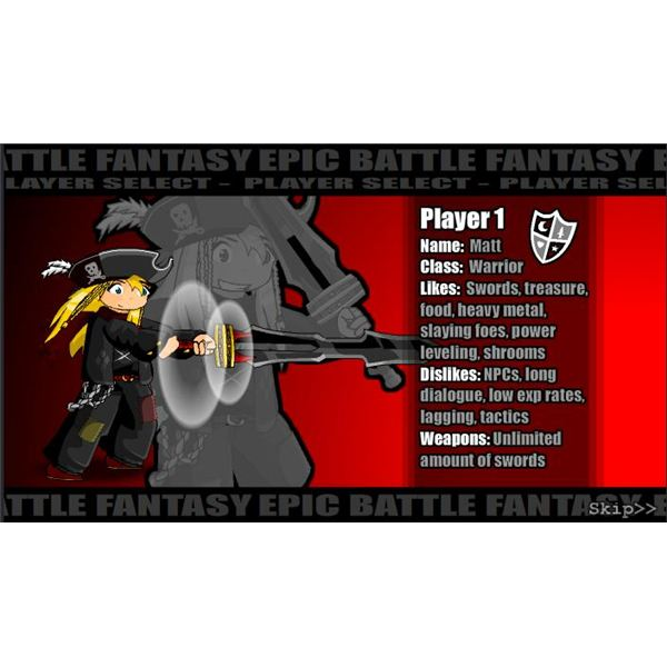 Matt's Bio From Epic Battle Fantasy 3