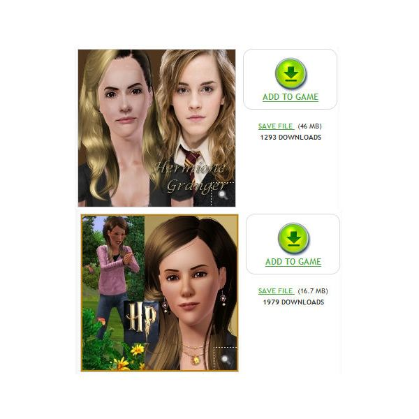The Sims 3 Hermione Granger downloads