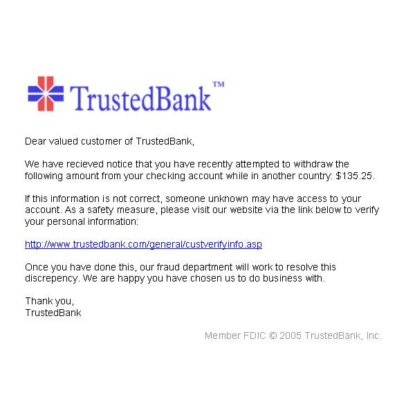 Example PhishingEmail from Trusted Bank