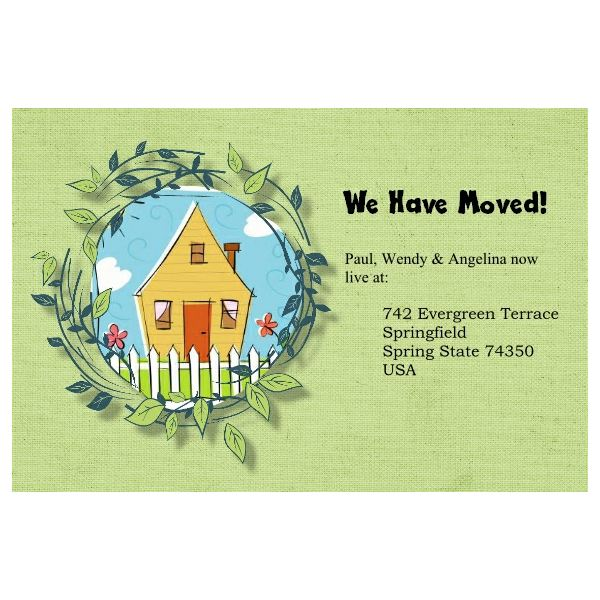 5 free change of address postcards templates for for Moving home cards template