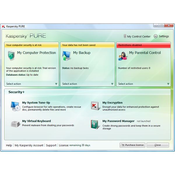 User Interface of Kaspersky PURE