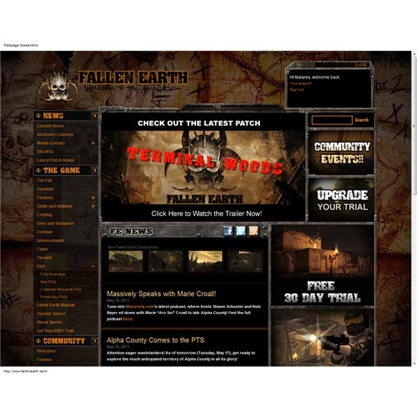 Fallen Earth website