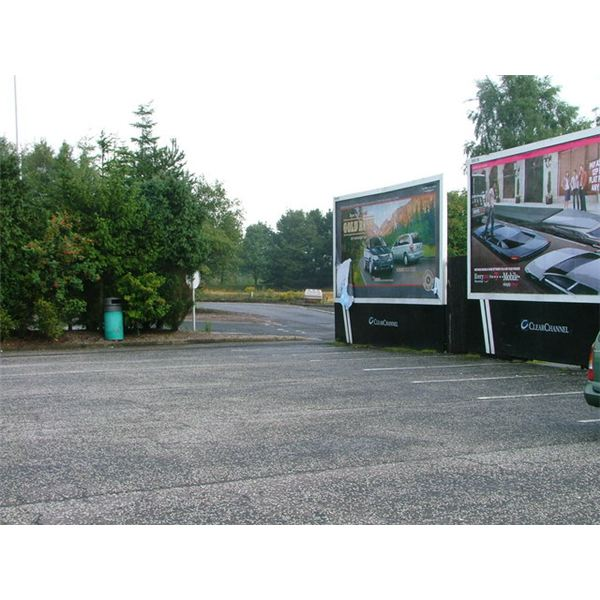 Car Park and Billboards, Kinross Service Station - geograph.org.uk - 234113