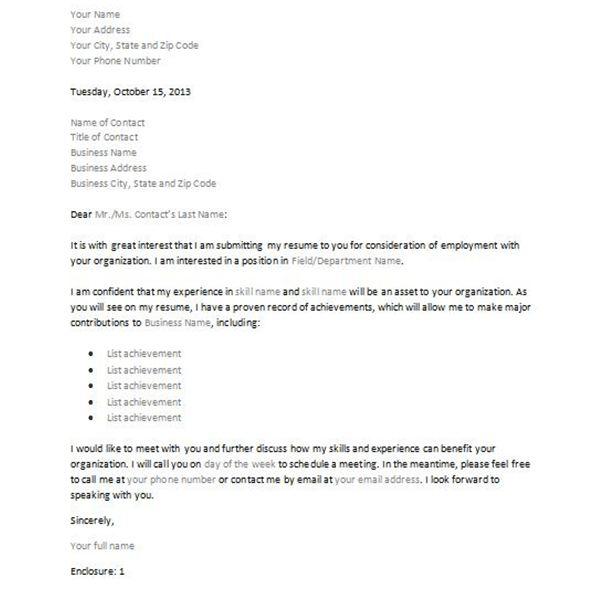 Letter of interest or inquiry 4 sample downloadable for Cover letter for potential job opening