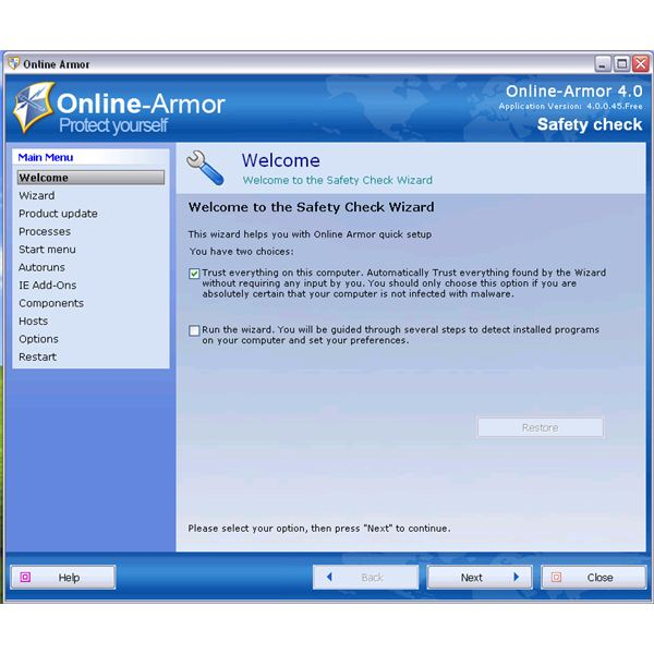 Online Armor Free Safety Check Wizard After Install