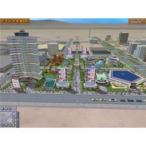 A larger casino resort with a hotel in left corner and casino in right