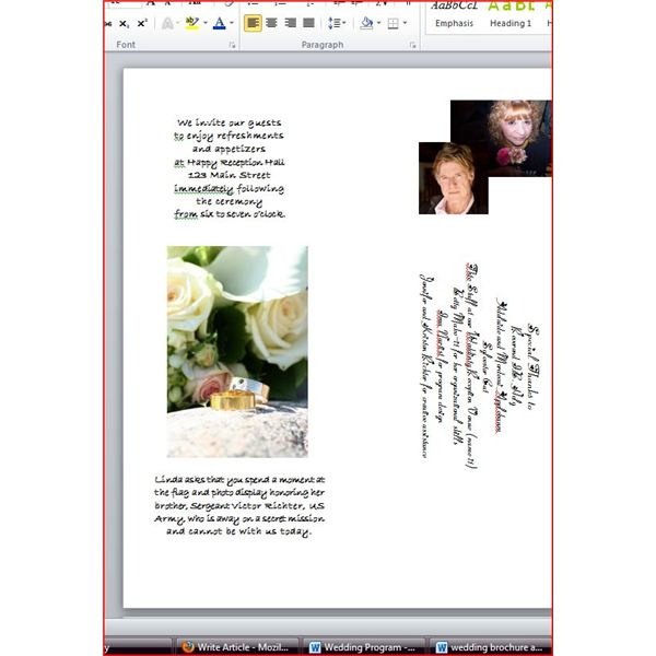 Wedding brochure, special mention panel