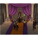 The Sims Medieval Bard playing at castle