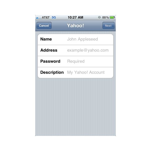 iPhone Email Setup: Enter account information