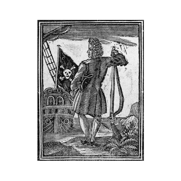 pirate stede bonnet- 1725 woodcut- known for fashionable dress