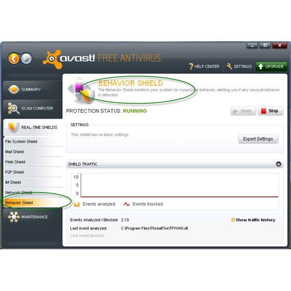 Avast Added Behavior Shield