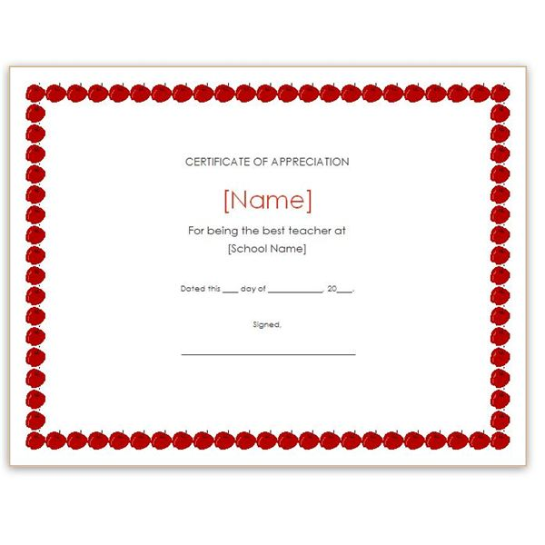 Free teacher appreciation certificates download word and apple border appreciation certificate yadclub Choice Image