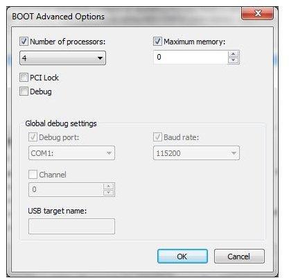 Windows 7 msconfig advanced memory options