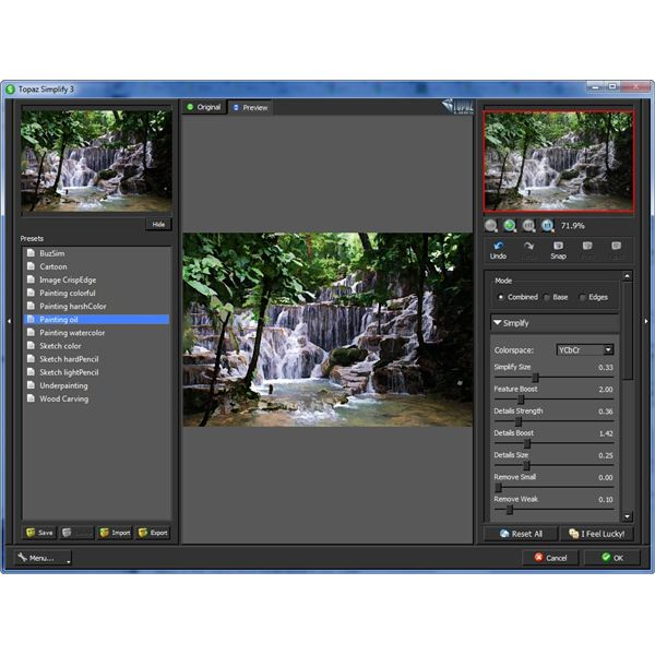 User Interface of Topaz Simplify 3