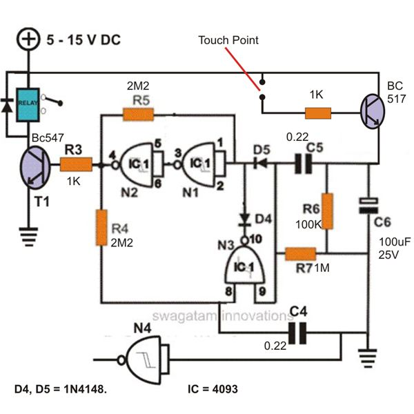 Simple Touch Sensitive Switch, Circuit Diagram, Image