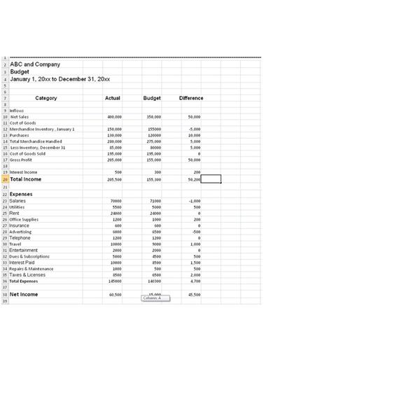 sample budget worksheet for business use