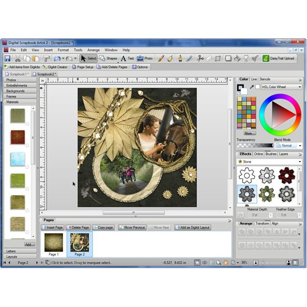Digital Scrapbook Artist 2 User Interface