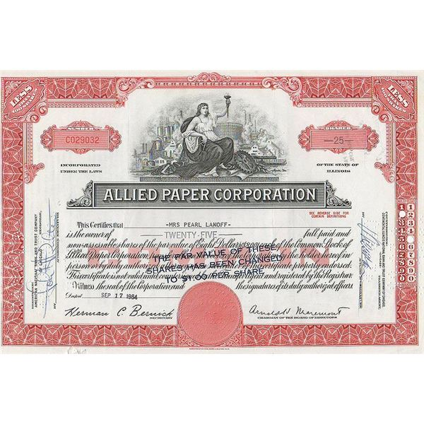 Allied Paper Corporation Stock Certificate