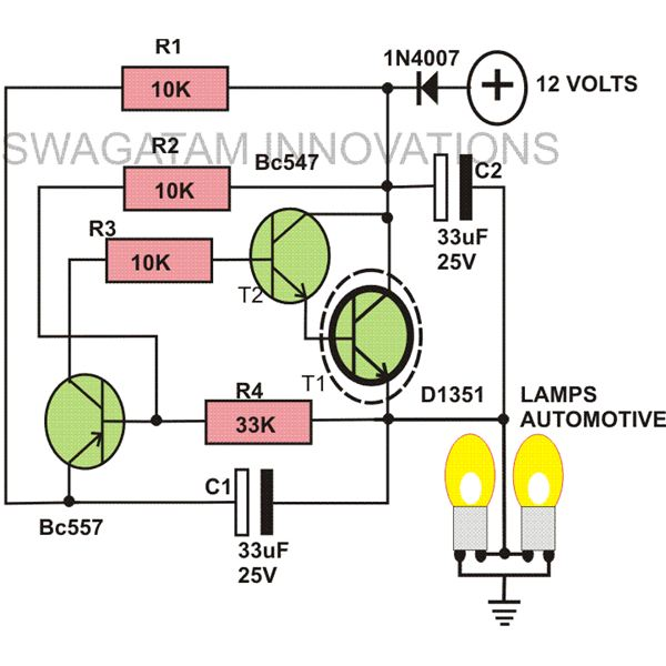 how to build a heavy duty 12 volt flasher unit? detailed description 12 volt series wiring diagrams 12 volt flasher unit circuit image, indicator lights image