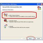 Add or Remove Features Office 2003