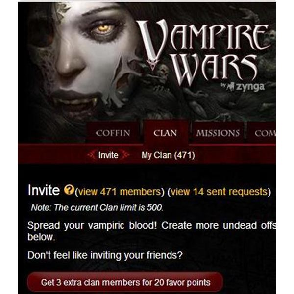 How to Get 500 Clan Members for Vampire Wars on Facebook