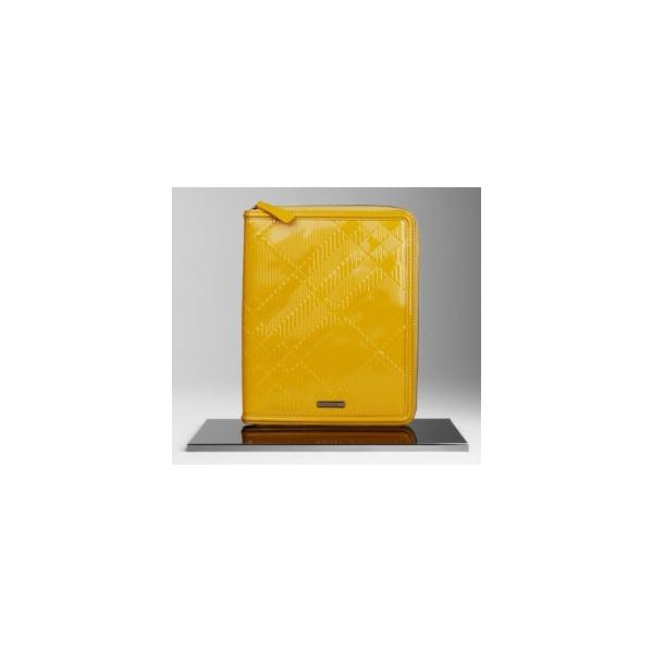 Burberry Embossed Check Patent Leather iPad Case