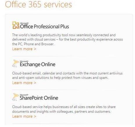 Screenshot Office 365 Features