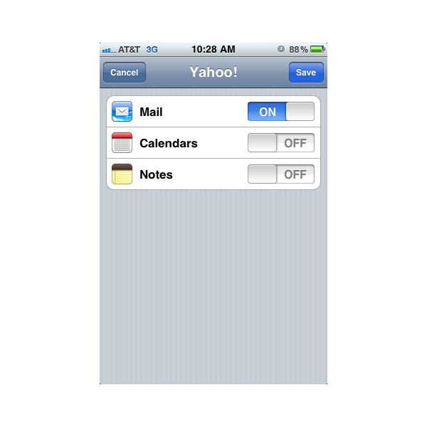 iPhone Email Setup: Select syncing options