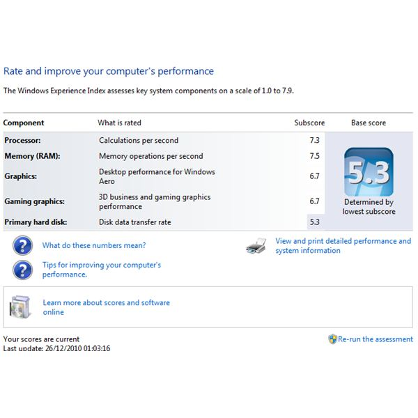 Windows Experience Index provides basic benchmarking information