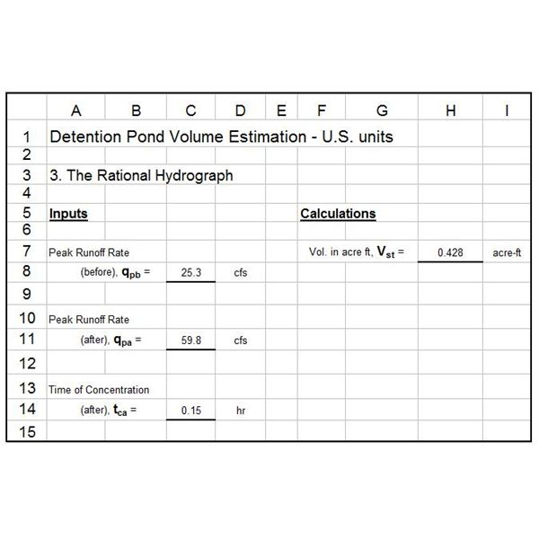 Pond Volume by Rational Hydrograph