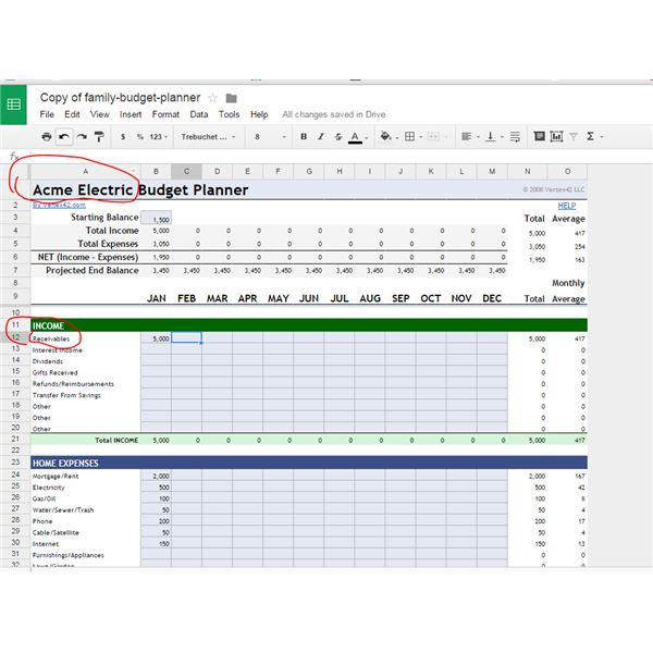 google spreadsheet template budget