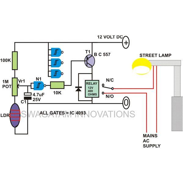 How to Build Automatic Night Light Control or Switch Day Night Switch Wiring Diagram V Ac on