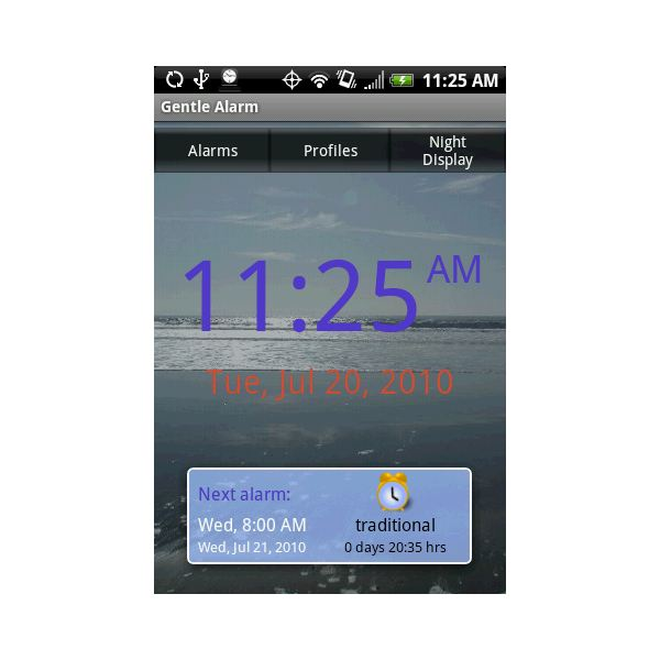 gentle alarm for android on an HTC Hero