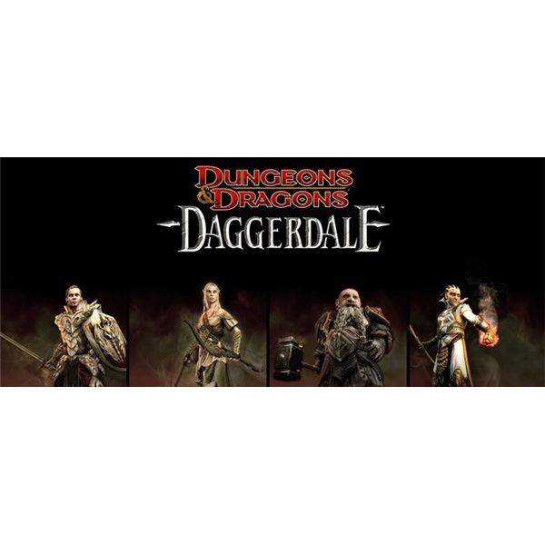 The heroes of D&D Daggerdale. A human fighter, a token female, a token guy with a beard, and a token tiny guy.