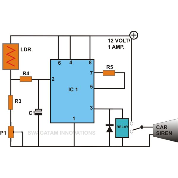 Simple Light Sensor Circuit Using IC 555, Circuit Diagram, Image