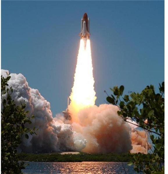 Shuttle SRBs send it on its way