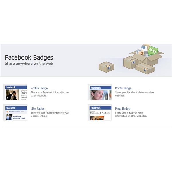 The different badges available for use on Facebook